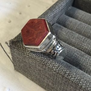 Sterling silver and coral gemstone ring